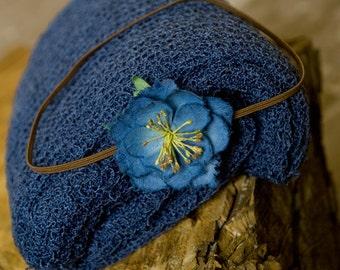 Newborn Photo Prop, Baby Wrap SET & Baby Headband, Blue Newborn Knit Wrap, Blue Newborn Wrap, Blue Stretch Wrap, Stretch Baby Wrap