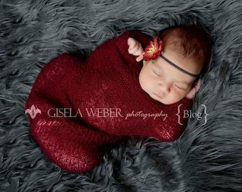 Newborn Stretch  Knit Wrap, Baby Headband, Maroon Baby Wrap Set, Stretchy Newborn Wrap, Newborn Photo Prop, Cocoon Wrap, Fall Newborn Prop