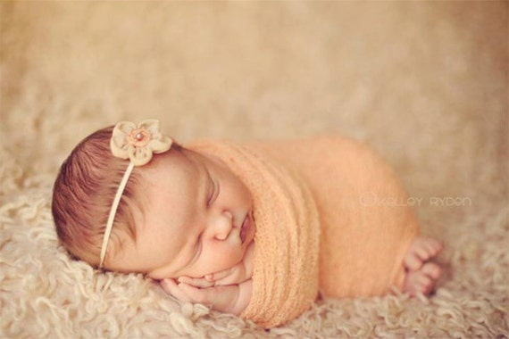 Newborn Knit Wrap, Newborn Photo Prop, Baby Headband, Baby Wrap, Knit Wrap, Peach Newborn Wrap, Layer Fabric, Peach Baby Headband