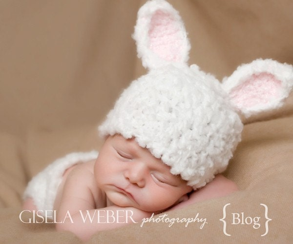 Crochet Bunny Hat With Flower Pattern : Baby Hat Pattern 2 In 1 Newborn Crochet Hat by SnassyCrafter