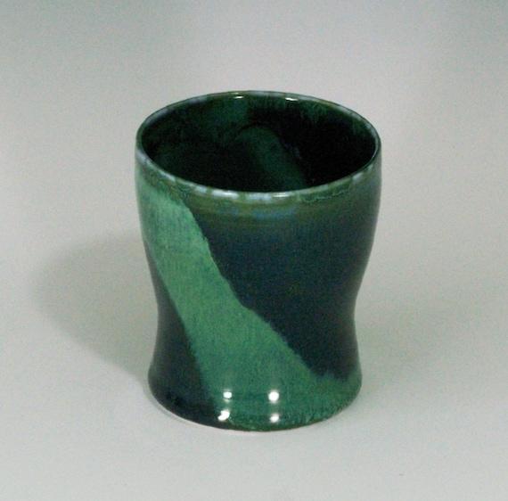 Deep forest and jade green porcelain tumbler 10 oz.