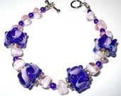 Blue & Pink Bracelet with Lampwork Beads, Hand Made in the USA