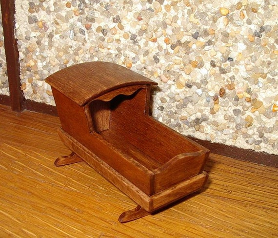 Rocking Cradle Rustic Dollhouse Miniature 1/12 By CalicoJewels