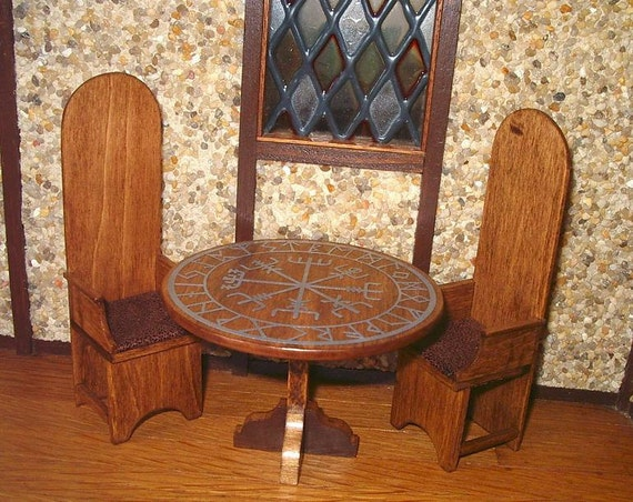 Dining Table Amp Chairs Viking Runes Medieval Dollhouse