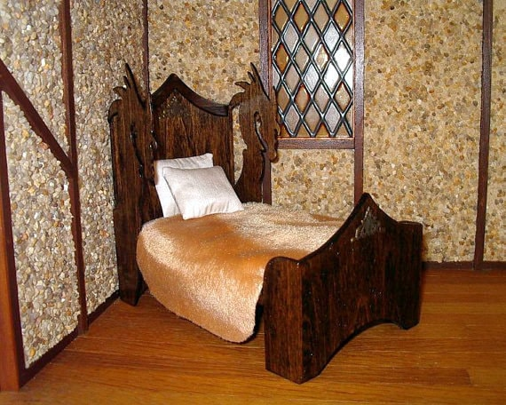 Medieval Dragon Bed Purpleheart Dollhouse By Calicojewels