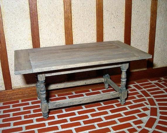 Tavern Table Aged Weathered Wood Dollhouse Miniature 1 12