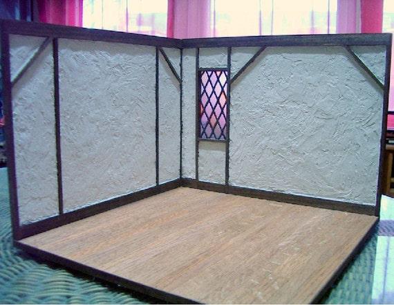 Tudor Cottage Room Box, Dollhouse Miniature 1/12 Scale, Rustic Medieval