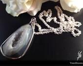 Druzy Agate Pendant Long Chain Necklace