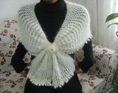 SALE,SALE,SALE.Cream Crochet Wedding Shawl-Handmade Cream  Chic Romantic Shimmery Capelet