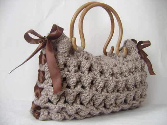 Mothers day-Happy holidays-.Handmade Knit Bag Brown, Celebrity Style,custom design.mom