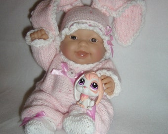 "5""-8""-10"" Berenguer doll's outfit knitting PATTERN PDF Pink Bunny N3"