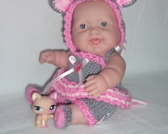 "5""-8""-10"" Berenguer doll's outfit knitting PATTERN PDF Mouse in tutu N4"