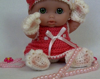 "8""-8.5"" Berenguer Lil' Cutesies doll Lucky Kitten outfit crochet PATTERN PDF N6"