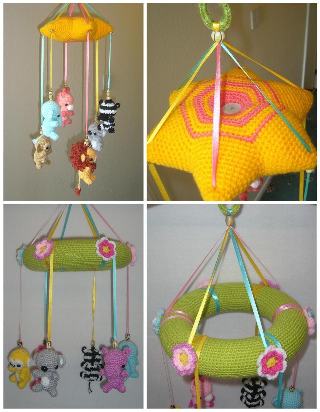 Crochet Baby Mobile Patterns : Baby Animals Mobile crochet PDF pattern