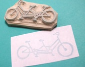 Bicycle Built for Two - Hand Carved Rubber Stamp