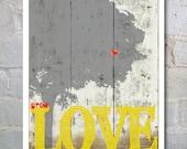 PRINT 11 x 14 Typography Art  Inspirational Wall Art PRINT, Grow Love Tree Wall Art- Valentine's Day Gift