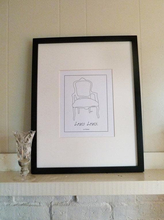PRINTABLE Louis XV Chair Illustration, PRINTABLE Chair Wall Art,  Elegant Paris Chic Line Drawing Printable