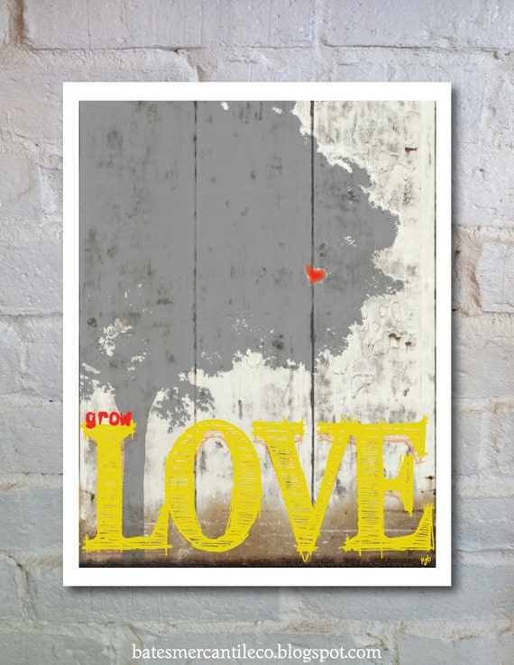 Valentines Day Love Gift, Valentines Day Love Gift, PRINT Typography Art  Inspirational Wall Art PRINT, Grow Love Tree Wall Art