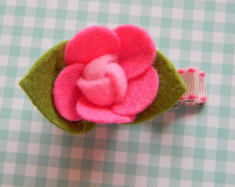 Hot Pink Flower Felt Clip