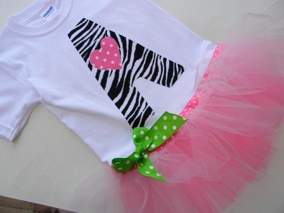 EXCLUSIVE Zebra Initial Applique Tutu Tshirt Dress  for Children by Bubblebabys