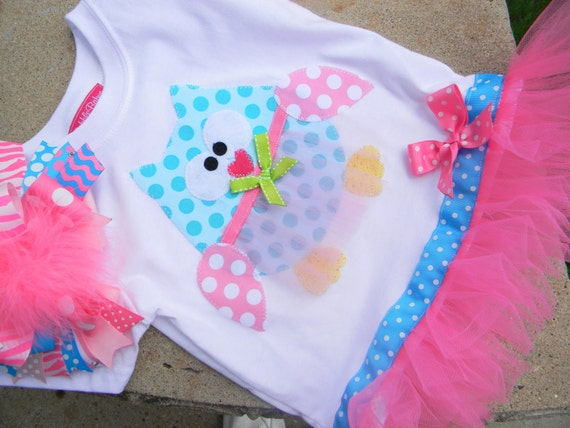 EXCLUSIVE Ballerina Owl Applique Tutu Tshirt Dress for Children by Bubblebabys