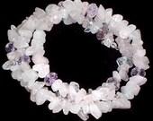 Rose quartz & Crystal Tri Coil Slinky Bracelet One Size Fits All (B35)