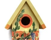 Hand Painted Bird House Indoor 8 1/2 inches high Orange ,Purple & Yellow