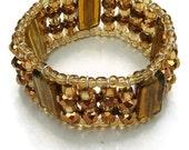 Topaz Beaded cuff - Shades of Topaz & Gold Handmade Bracelet (B71)