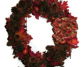 Autumn Fall Wreath 20 inch - FREE SHIPPING US Only - Ready To Ship