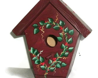 Barn Red Hand Crafted Wood Bird House- Indoor/Outdoor