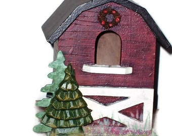 My Big Red Barn Birdhouse, Indoor Home Decor, Rustic Lanai, Screen House, Gazibo