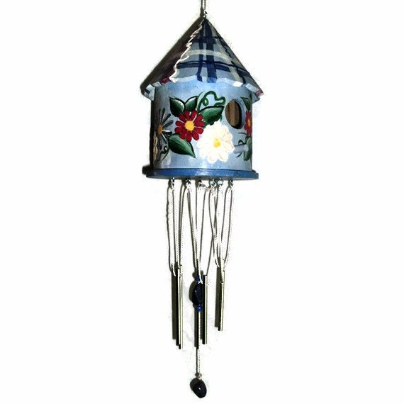 Bird House Wind Chime - Hand Painted Bird House Wind Chime - Plaid & Flowers