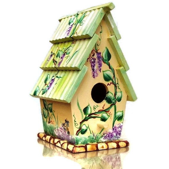 Hand Painted Bird House 9 inch high x 6 inch by JuliesGiftbox