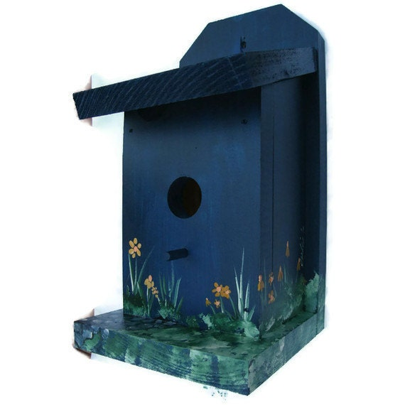 Blue Bird House - Handmade & Hand Painted