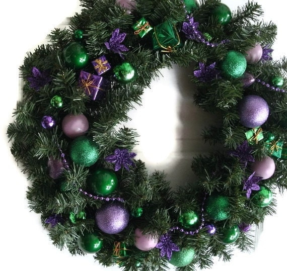 Purple & Green wreath 22 inch - Holiday Wreath - Christmas