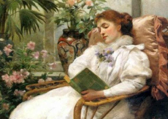 Lady Reading - Cross stitch pattern pdf format