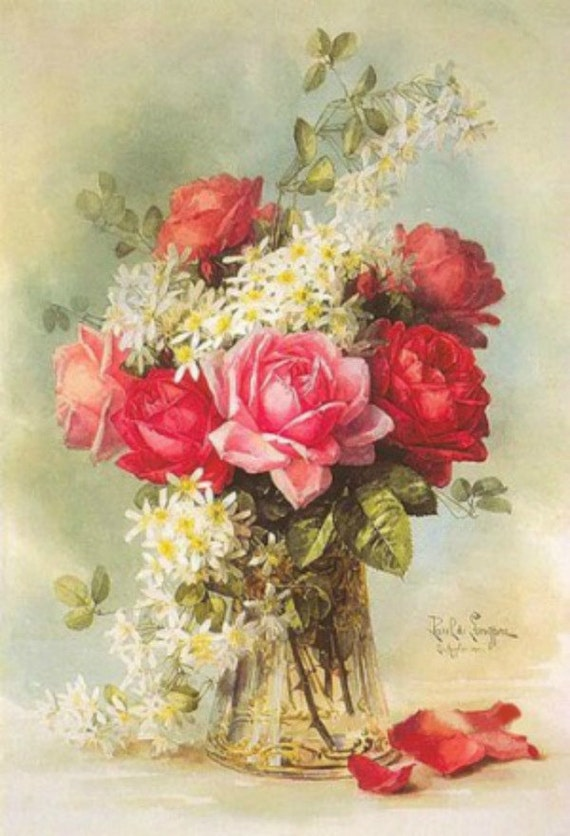 Roses and Daisies - Cross stitch pattern pdf format