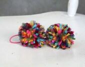 2 Rainbow pom pom hair ties