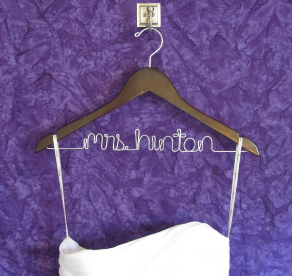 Items similar to mrs hanger personalized hanger bride for Mrs hangers wedding dress