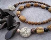 Woodland - Beaded Necklace Tigerskin Jasper Graphic Feldspar Obsidian Brown Wood