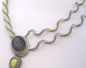 Lemon Twist - Beadwoven Necklace Yellow Grey Asymmetric