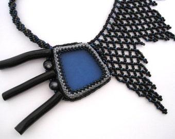 Blue - Beadwoven Necklace Asymmetric OOAK Black Grey Bead Embroidered