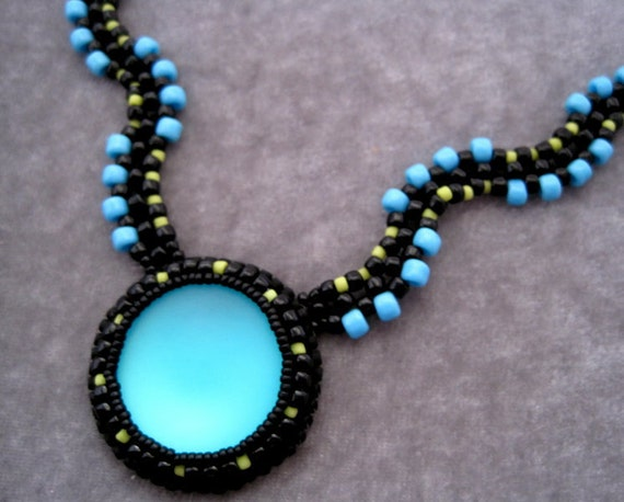 Oceanic - Beadwoven Necklace Teal Bead Embroidered Black Green Destinations
