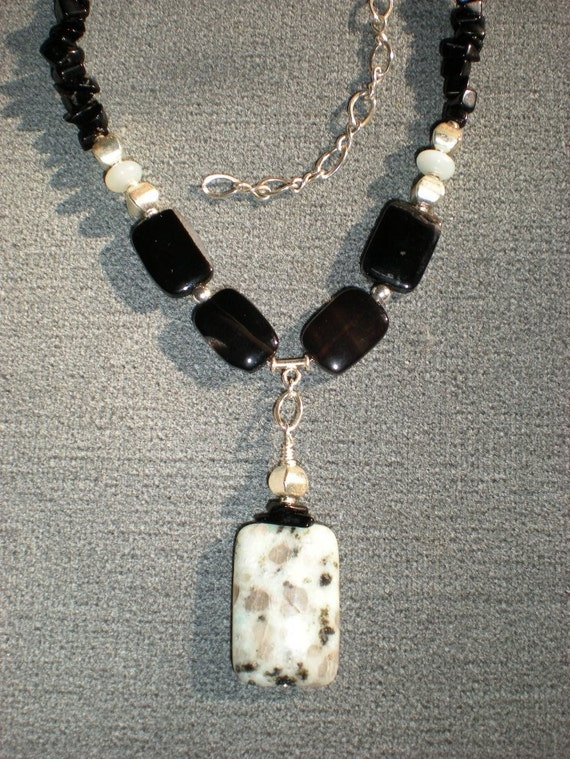 Tranquility necklace, sesame jasper, black agate, sterling silver, smithsonite, black onyx, one of a kind