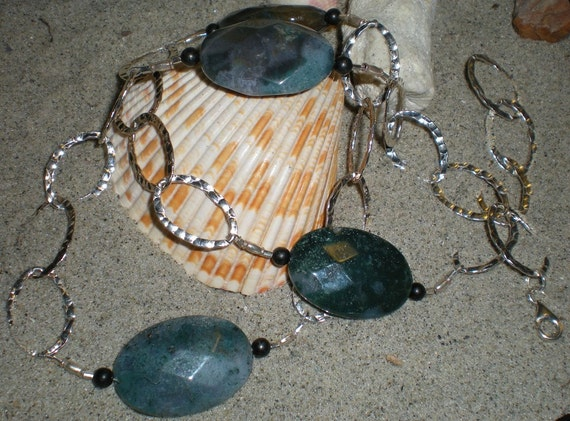 Chained necklace, moss agate, black onyx, sterling silver, one of a kind