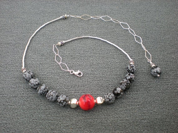 Hot Topic necklace, snowflake obsidian, red bamboo coral, sterling silver, one of a kind
