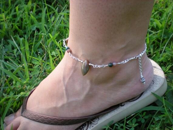 Ramblin' Rose anklet, fancy jasper, sterling silver OOAK
