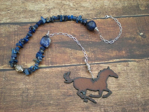 Run with me beaded necklace, one of a kind, iron rustic horse charm, lapis, sodalite, sterling silver, donation