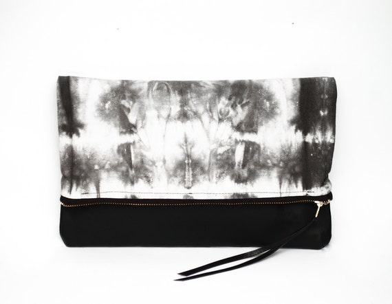 30% SALE - Fold over clutch  - hand dyed cotton and leather clutch - Tie dye gray and black bag