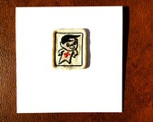 Vintage White Scout Swim Badge - Card and Envelope